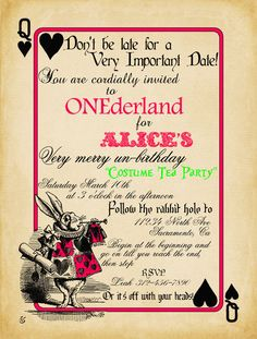 Playing Card Alice in Wonderland Invitation Bridal Shower or Birthday Invitation, Printable. $12.00, via Etsy.
