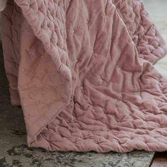 Plushious Velvet Bedspread in Dusky Print | Pink Velvet Throw