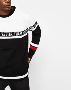 Combined sweater with slogan - New - Bershka United States