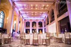 Gorgeous decor // Purple lighting for wedding // Gold Tree Centerpieces // Gold Chiviari chairs // Wedding at One King West // Vera Wang Wedding Dress // Toronto Weddings // Photo from http://amycheshire.com/ //