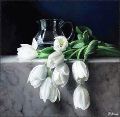 Oil Painting Flowers, Watercolor Flowers, Flower Paintings, White Tulips, White Flowers, Flower Drawing Tutorials, Still Life Art, Flower Oil, Arte Floral