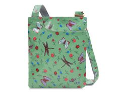 Ready for the weekend? This green dragonfly and butterfly printed adjustable crossbody purse is packed with pockets and plenty of flair. Using durable light weight coated cotton and leather trim it sits comfortably on your shoulder or extends to crossbody. The multiple pockets give you flexibility to organize with ease. Perfect for carrying your daily essentials, wear yours with a simple blouse and jeans.  Dimensions Cm: Length 29cm x Height 9.75 x Depth cm +Handle drop: 50 - 70cm Inches…
