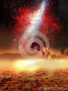 Spaceship, crashed on the rocky ground of a distant planet, close to a red galaxy.
