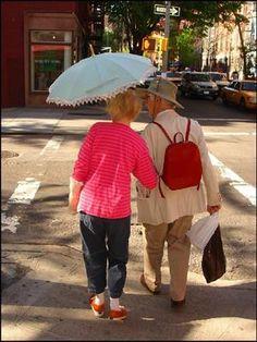Old Couple with Umbrella: New Yoek City
