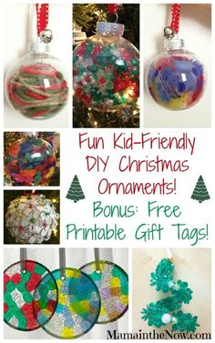 Fun Kid-Friendly DIY Christmas Ornaments! Handmade ornaments for toddlers, preschoolers - kids of all ages!  These decorations make great teacher gifts, presents for grandparents and other unsuspecting relatives! Check lots of people off your list with these money saving Christmas ornaments! Creations by @ccrowndesigns