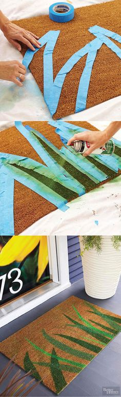 25 DIY Doormats That Are Almost Too Cute To Wipe. - http://www.lifebuzz.com/diy-doormats/