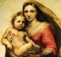 Sistine Chapel Madonna and Child. Not shown in picture are the 2 cherub figures Raphael painted at the bottom of this-2 kids that used to sit at window watching him paint. 1513 // Raphael Sanzio.