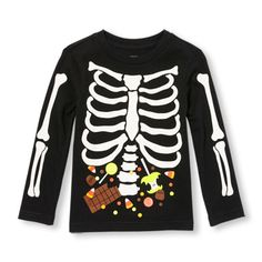 Toddler Boys Long Sleeve Glow-In-The-Dark Candy Skeleton Graphic Tee