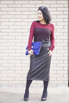 Petite street style Anne Taylor lace sweater+Prism sunglasses+Rita and Phill black skirt+ Saks 5th Avenue blue bag+ Nordstrom black heels