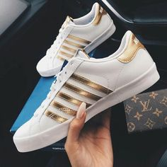 white + gold sneakers #kswiss