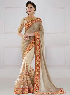 DESIGNER GRAY & BEIGE NET EMBROIDERED SAREE WITH BLOUSE