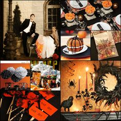 halloween wedding love the feathered wreath and the orange tool under the dress