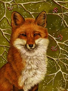 """Christmas Fox""  -- Gouache by Sandy Williams"