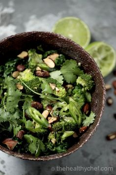 Warm broccoli salad with kale,lime + roasted tamari almonds - Teresa Cutter, the healthy chef
