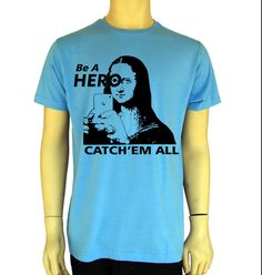Pokemon Go-Mona Lisa-Be A Hero-Cach'em All Mens T Shirt Graphic Tee-S-XXL Funny by BANKUSSI on Etsy