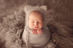 Little Kitty Bonnet, Newborn Hat, Newborn Photo Prop, Knit Baby Hat, Angora bonnet, grey, Children, Striped Ears, Animal Hat, Knitting