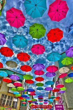 Rainbow umbrella covered the street  ~ Houyi Shopping Area, Sanmin District…