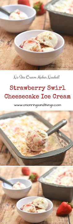 Rich, creamy and bursting with strawberry and cheesecake flavor, this Strawberry Swirl Cheesecake Ice Cream is a must for summer! So simple to make, no churn and no ice cream maker needed.