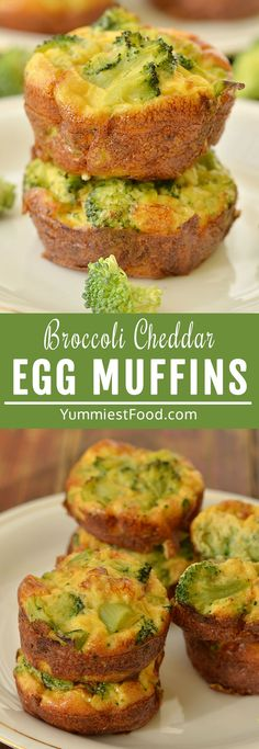 Broccoli Cheddar Egg Muffins are loaded with cheddar cheese and fresh broccoli. They are a quick and easy way to get your eggs in the morning. Perfect on-to-go breakfast muffins! #breakfast #muffins #muffinrecipes