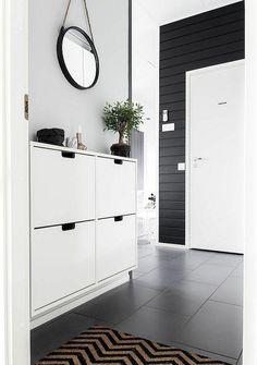 déco pour entrée de maison et meuble à chaussure de design scandinave