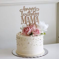 Birthday Cake Ideas Flowers Tea Parties New Ideas 60th Birthday Cake For Ladies, Birthday Cake For Women Elegant, Elegant Birthday Cakes, 60th Birthday Cakes, Beautiful Birthday Cakes, Elegant Cakes, Birthday Cakes For Adults, Happy Birthday Mom Cake, Mothers Day Cake