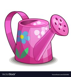 Pink watering can isolated on white background vector image on VectorStock House Drawing For Kids, Fruits Drawing, Small Drawings, Plant Painting, Scrapbook Embellishments, Everyday Objects, Watering Can, Colouring Pages, Hobbies And Crafts