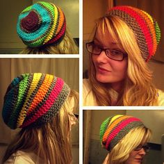 Rainbow Slouch by Stitch'n Away Crochet - fun for minis and a contrast color!  (calls for worsted...try holding fingering double)  #MiniSkeinMonday