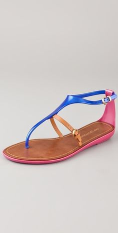Sergio Rossi T Strap Rubber Sandals  cobalt, neutral and pink all in one sandal