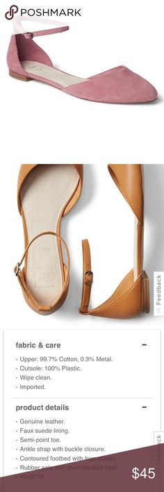 NWT GAP Leather ankle-strap d'Orsay flats NWT Gap Leather ankle-strap d'Orsay flats. Rose color. Brand new, never worn. GAP Shoes Flats & Loafers