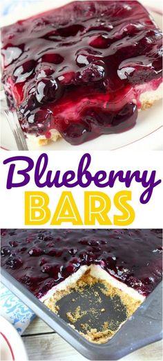 Blueberry Chill Bars Recipe. No bake layered dessert recipe. Blueberry desserts with graham cracker crust