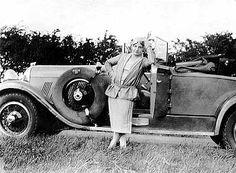 Tawhida Medhat Yagan Hanim next to her 1929-1930 Auburn automobile. France, 1929