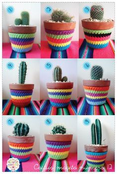 macetas crochet, inspiration only Crochet Cup Cozy, Crochet Cactus, Crochet Home, Crochet Flower Patterns, Crochet Flowers, Painted Clay Pots, Sewing Crafts, Diy Crafts, Colorful Pillows
