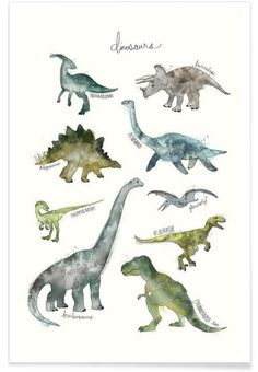 Illustration Enfant Dinosaurs as Premium Poster by Amy Hamilton Dinosaur Posters, Dinosaur Art, Dinosaur Drawing, Dinosaur Prints, Dinosaur Room Decor, Dinosaur Bedroom, Art Mural, Wall Art, Framed Art Prints