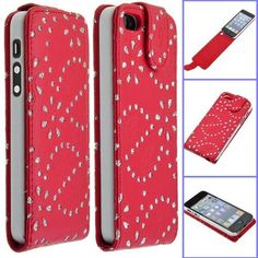 Nice Crystal Flower PU Leather Up and Down Flip iPhone 5 Case - USD $ 7.37