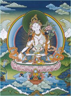 """Tara, ou """"Dölma Dolkar"""": """"Celle qui fait traverser"""" en tibétain, serait née d'un lotus éclos d'une larme de Chenresig, boulversé par les souffrances du monde. Elle est extrêmement vénérée au Tibet, apporte sérénité, prospérité et chance, gardienne des traditions protégeant le pays de ses sept yeux."""