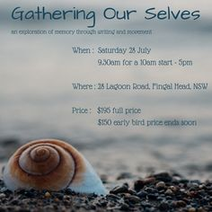 Jacqueline McInnes (5 Rhythms teacher extraordinaire) and I (writer/editor/mentor) would love to invite you to our upcoming day-long workshop: Gathering Our Selves. Through movement and writing, we will explore concepts of memory – tapping into, rediscovering, shifting and re-narrating memories that may no longer serve us well, and creating personal stories that are more open and expansive.  Contact for more information.