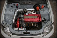 HBK JMES' (honda-tech.com) Civic EK engine bay via PROLIFIK-ONE.com and hasback.com