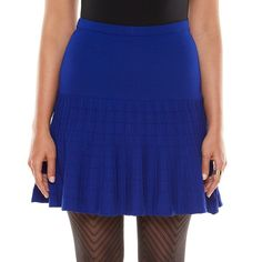 New Elie Tahari for DesigNation Ribbed Flounce-Hem Skirt Blue S, M , L #ELIETAHARI #SKIRT