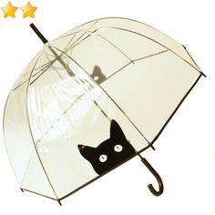 Parapluie cloche transparent imprimé chat et bordé noir