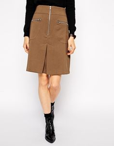 Find the best selection of ASOS A-Line Skirt with Zip Detail. Shop today with free delivery and returns (Ts&Cs apply) with ASOS! Military Skirts, Asos Skirts, 70s Fashion, Winter Wardrobe, A Line Skirts, Cool Style, Dresses For Work, Shirt Dress, Zip