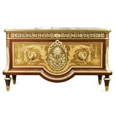A gilt-bronze-mounted fruitwood inlaid satinwood mahogany marquetry and parquetry commode after the celebrated model by Jean-François Leleu, stamped twice G V Pillinini<br>in Louis XVI style, mid 19th century | lot | Sotheby's