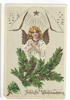Antique Christmas GEL Post Card Winged Angel with Pine Bough Gold Trim    ##