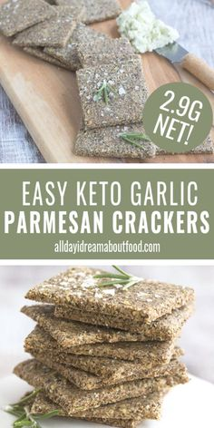 My favorite keto crackers get a brand new update! These nut-free rosemary parmesan crackers are a delicious low carb snack and hold up to any cheeses or spreads. Healthy Low Carb Recipes, Low Carb Dinner Recipes, Keto Recipes, Snacks Recipes, Ketogenic Recipes, Keto Dinner, Low Carb Bread, Low Carb Keto, Keto Bread