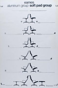 Eames aluminum group and Eames soft pad group, neatly outlined on this vintage poster by #hermanmiller