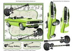 Green Hot Car with Guitar Music Card Topper Decoupage on Craftsuprint - Add To Basket!