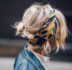 cute blonde bun with a darling printed hair wrap
