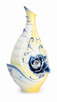 FZ02524 Sailboat AND Peony Flower Vase BY Franz Porcelain Exclusive OF OUR Store | eBay