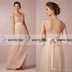 Dress For Wedding Guest Cheap Bhldn 2015 Long Nude Bridesmaid Dresses Lace Capped With Ribbon Tull Long Backless Maid Of Honor Dresses Custom Made Wedding Dresses Bridal Party Dresses From Whiteone, $81.46| Dhgate.Com