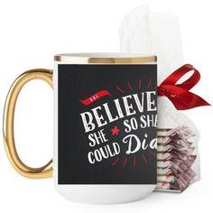 She Believed Whimsy Mug, Gold Handle, with Ghirardelli Peppermint Bark, 15 oz, Black