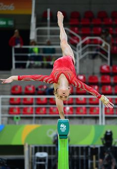 #RIO2016 US gymnast Madison Kocian practices on the beam of the women's Artistic gymnastics at the Olympic Arena on August 4 2016 ahead of the Rio 2016...